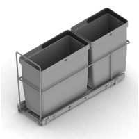 PULL-OUT WASTE SYSTEM SILVER + 2 BINS LM 72/2U