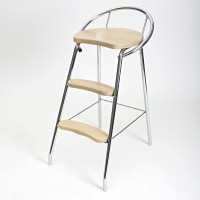 STEP STOOL WITH BACK REST CHROME/BIRCH LM 187