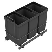 PULL-OUT WASTE SYSTEM ANTHRACITE + 3 BINS LM 67/R