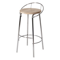 BAR STOOL WITH BACK REST CHROME/BIRCH LM 189