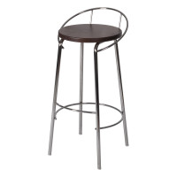 BAR STOOL WITH BACK REST CHROME/CHERRY LM 189